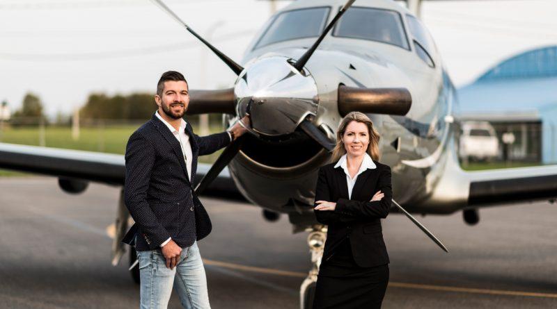Jimmy Emond président de Corpo Aviation et Jacynthe Blanchard Vice présidente au développement des affaires de Corpo Aviation