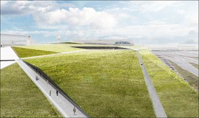 Le toit vers du futur stationnement d'ADM