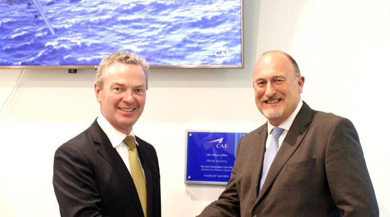 CAE Australia Canberra office opening Minister Pyne Ian shaking hands