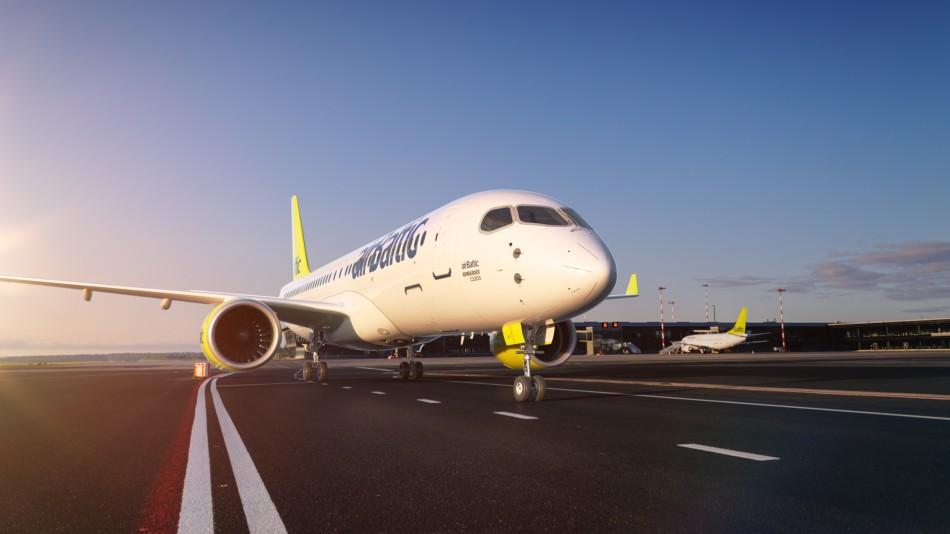 Image publicitaire d'Air Baltic avec l'A220-300