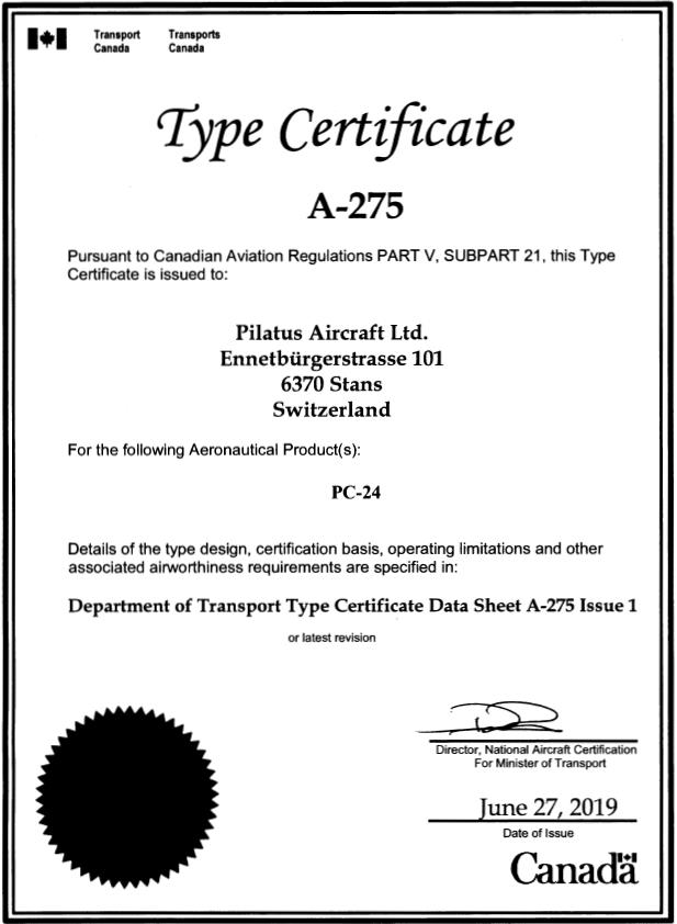 Certificat de type PC-24