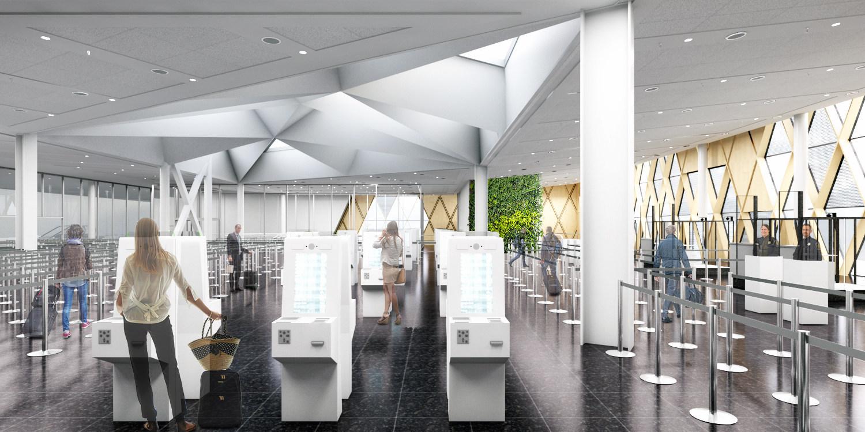 Les bornes de contrôle du nouveau  centre de correspondance de YUL