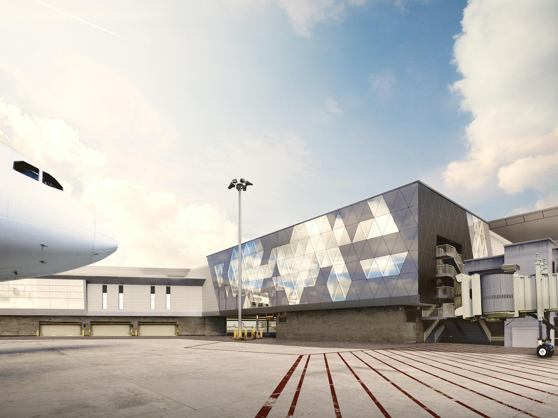 Vue extérieure du nouveau centre de correspondance à YUL