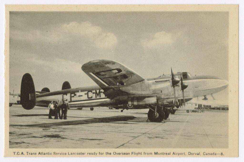 Lancaster du service transatlantique 1946. Image de Photogelatine Engraving Co. Sources archives numériques de la Bibliothèque nationale du Québec.