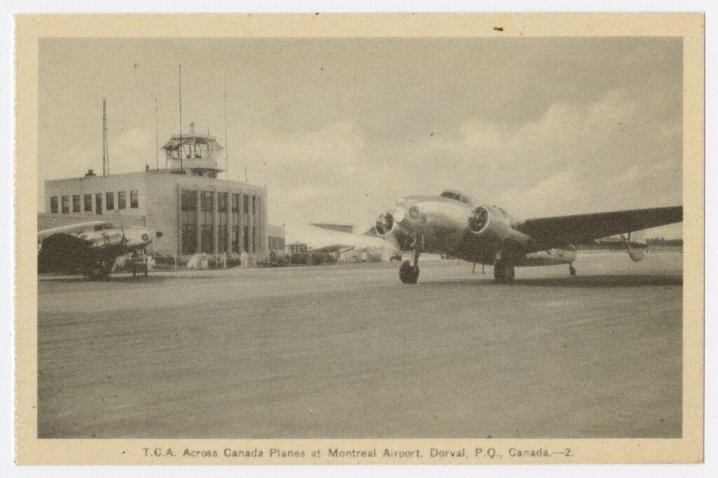 Aéroport de Dorval dans les années 40. Image de Photogelatine Engraving Co. Sources archives numériques de la Bibliothèque nationale du Québec.