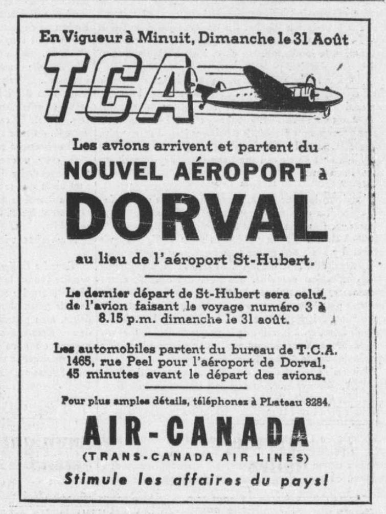 Publicité d'Air Canada Le Devoir 29 août 1941. Source, les archives numériques de la Bibliothèque nationale du Québec.